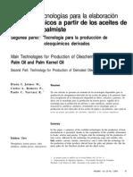 Principales tecnologías para la elaboración de oleoquímicos a partir de los aceites de palma y de palmiste