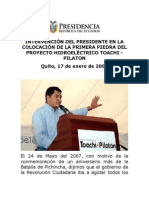 2008 02 17 Discurso Colocación Primera Piedra Proyecto Toachi Pilatón