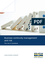 Business continuity management and risk