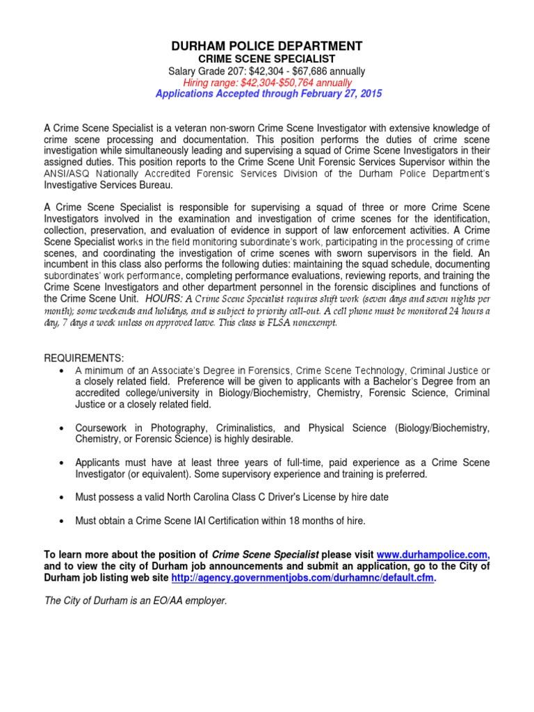 crime scene specialist job description 2 15 2 crime scene forensic science - Description Of A Crime Scene Investigator