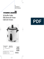 Black and Decker 16-Cup Rice Cooker Manual