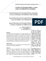 Cuello, Marina e Parisi Elio. (2013). Revista Electrónica de Psicología Política (Argentina)