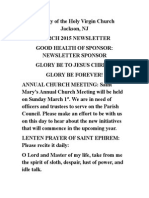 Nativity of the Holy Virgin Church - Newsletter - March, 2015