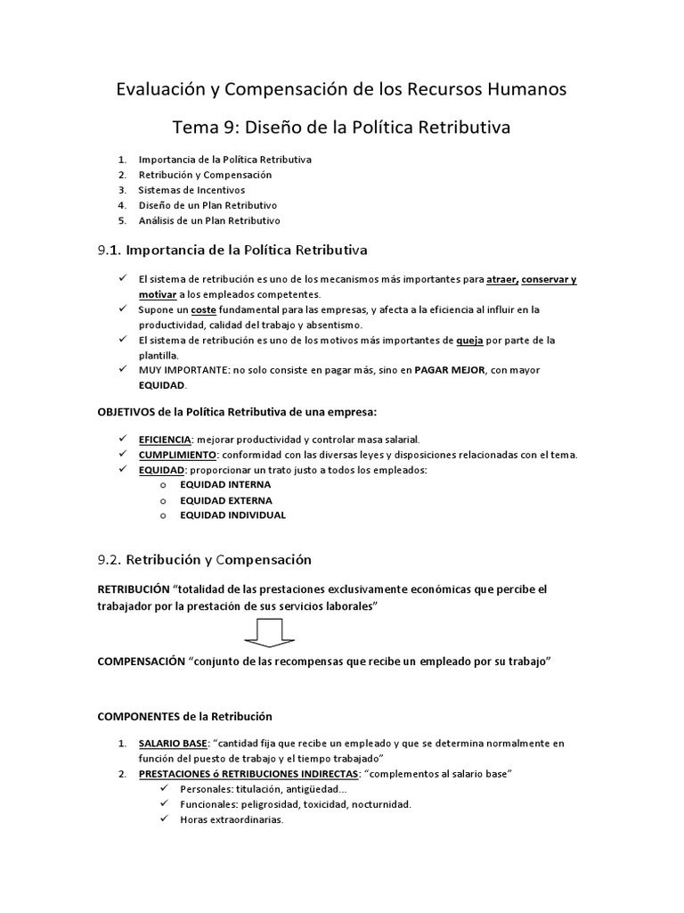 Tema 9 Diseño de La Política Retributiva