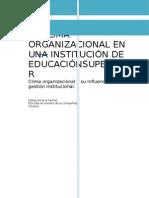 El Clima Organizacional en Una Institución de Educaciónsuperior