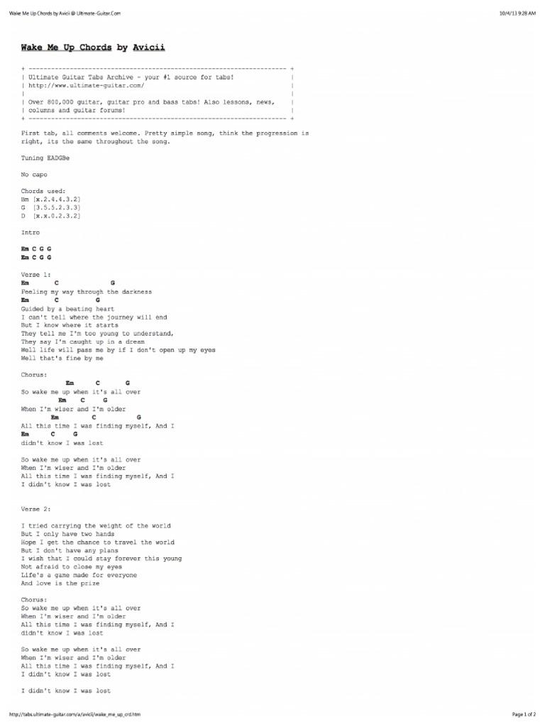 Wake Me Up Chords by Avicii at Ultimate Guitar PDF