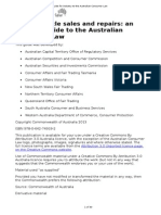 Motor Vehicle Sales & Repairs - An Industry Guide to the Austalian Consumer Law
