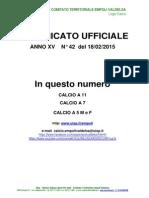C.U. 42 DEL 18.02.2015