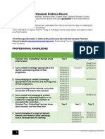 graduating teacher standards evidence record