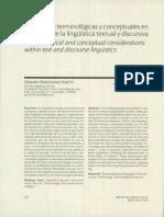 Precisiones Ternninológicas y Conceptuales en La Linguistica Del Texto y Discursiva