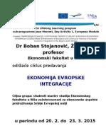 Plakat Jean Monnet MASTER Ekonomski Fakultet, 20.2.-23.3. 2015.