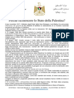 Perchè Riconoscere lo Stato di Palestina?