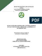 Evaluación Del Sistema Del Control Interno en Las Cuentas Por Cobrar de La Empresa a y m, Período 2013