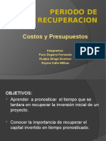 Periodo de Recuperacion Costos y Presupuestos