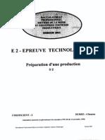 BACPRO METIERS MODE Epreuve de Technologie Preparation d Une Production 2002