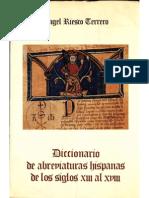 Ángel Riesco Terrero–Diccionario de Abreviaturas Hispánicas s. XIII al XVIII