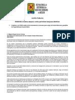 150219 CARTA PÚBLICA_RNDDHM Condena Ataques Contra Periodista Sanjuana Martínez A