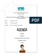 agenda for writing workshop at une 2015
