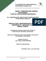 PROTECCION Y MANTENIMIENTO DE TRES  MANANTIALES  UBICADOS EN EL  PARAJE ITZINGO