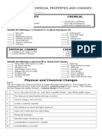 physicalandchemicalchangesworksheet