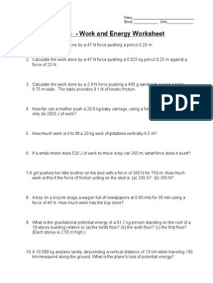 7a - Work and Energy Worksheet | Kinetic Energy | Potential ...