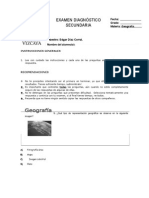 Examen Diagnostico2014-2015 Geografía Primero de Secundaria