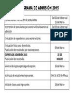 Cronograma de Admisión 2015