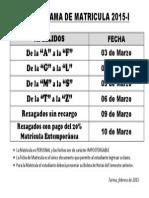 CRONOGRAMA DE MATRICULA 2015-I