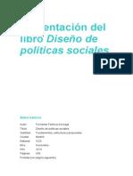 Presentación Del Libro Diseño de Políticas Sociales (2014)