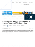 Procedure for Starting and Stopping of Sewage Treatment Plant on a Ship