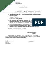 Affidavit of Loss Basubas