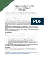 Defensa Pública, Inclusión Social y Ejercicio de La Abogacía