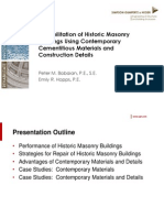 Rehabilitation of Historic Masonry Buildings Using Contemporary Cementitious Materials and Construction Details