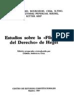 Angehrn, Bobbio, Bourgeois, Cesa, Marini, y Otros - Estudios Sobre La Filosofia Del Derecho de Hegel. Centro de Estudios Constitucionales 1989
