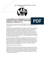 Nota de Prensa Asamblea de Estudiantes de La Rioja