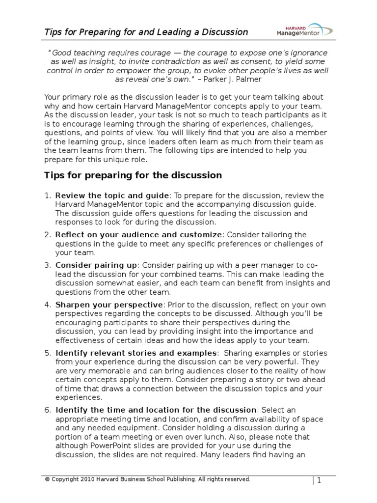 tips for preparing for and leading a discussion 2 conversation rh scribd com Icon Discussion Guide Small Group Discussion Guide