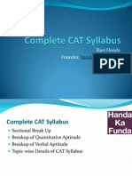 Complete and Detailed Syllabus for CAT - Sections, Topics, And Chapters