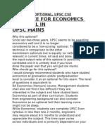 Economics Optional, Upsc Cse