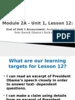 unit 1 assessment, lesson 12