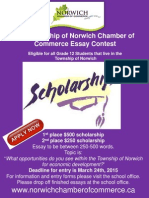 2015 Township of Norwich Chamber of Commerce Essay Contest Package