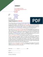 Notice of Default Letter No 2