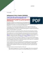 Letter Regarding Infringment Notice
