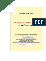 Durkheim - La Science Sociale Et l'Action - 1. Cours de Science Sociale Leçon d'Ouverture (1888)