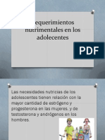 Requerimientos Nutrimentales en Los Adolecentes