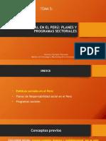 Tema 5. La Política Social en El Perú Planes y Programas Sectoriales