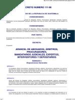 Arancel de abogados, árbitros, procuradores, mandatarios judiciales, expertos, interventores, Decreto 111-96.pdf