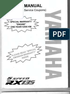 RX 135 5sd manual Yamaha Rxz Wiring Diagram Pdf on