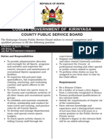 Kirinyaga County Public Service Board - Vacancies-21st Feb 2015