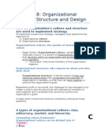 MNO Chapter 08 - Organizational Culture, Structure and Design