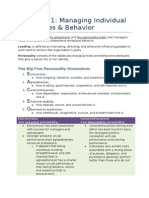 MNO Chapter 11 - Managing Individual Differences & Behavior